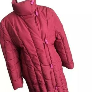 Vtg Long Down Puffer Quilted Coat Jacket Pink Red